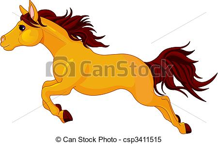 Clipart Vector of Running horse.