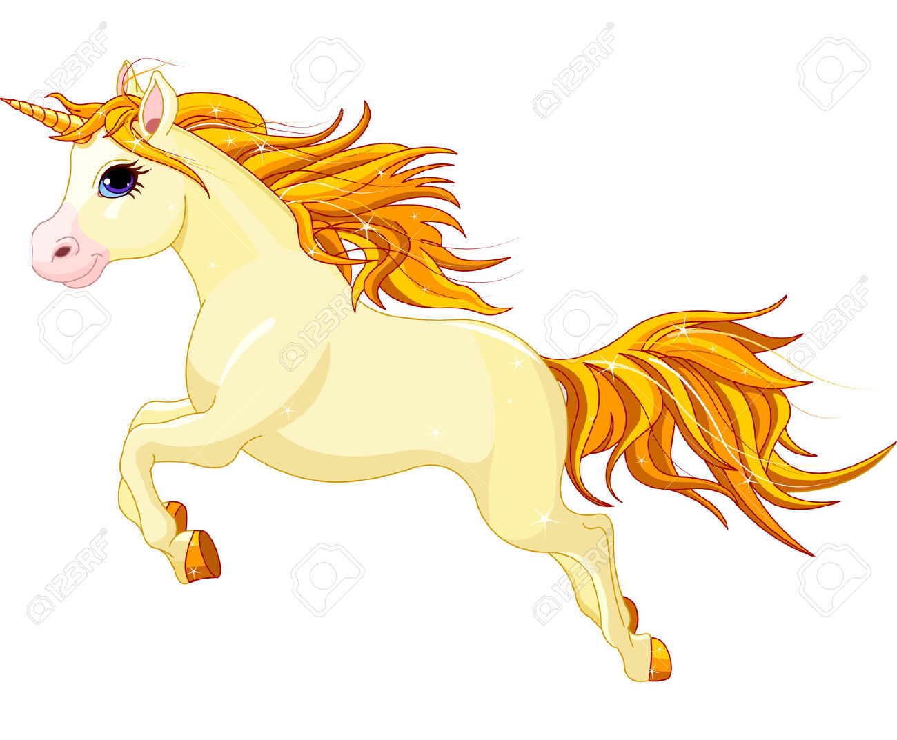 Illustration Of Running Beautiful Unicorn Royalty Free Cliparts.
