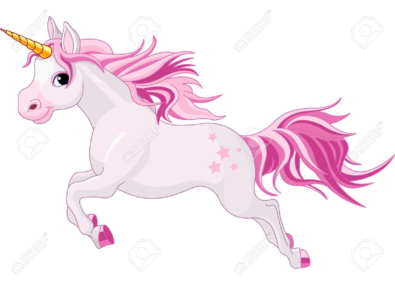 Illustration Of Beautiful Running Unicorn Royalty Free Cliparts.