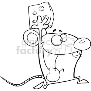 Black and White Happy Mouse Cartoon Mascot Character Running With Cheese  clipart. Royalty.