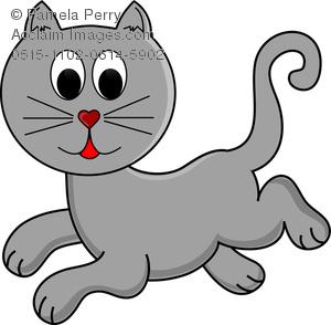 Clip Art Illustration of Cartoon Ginger Cat Running.