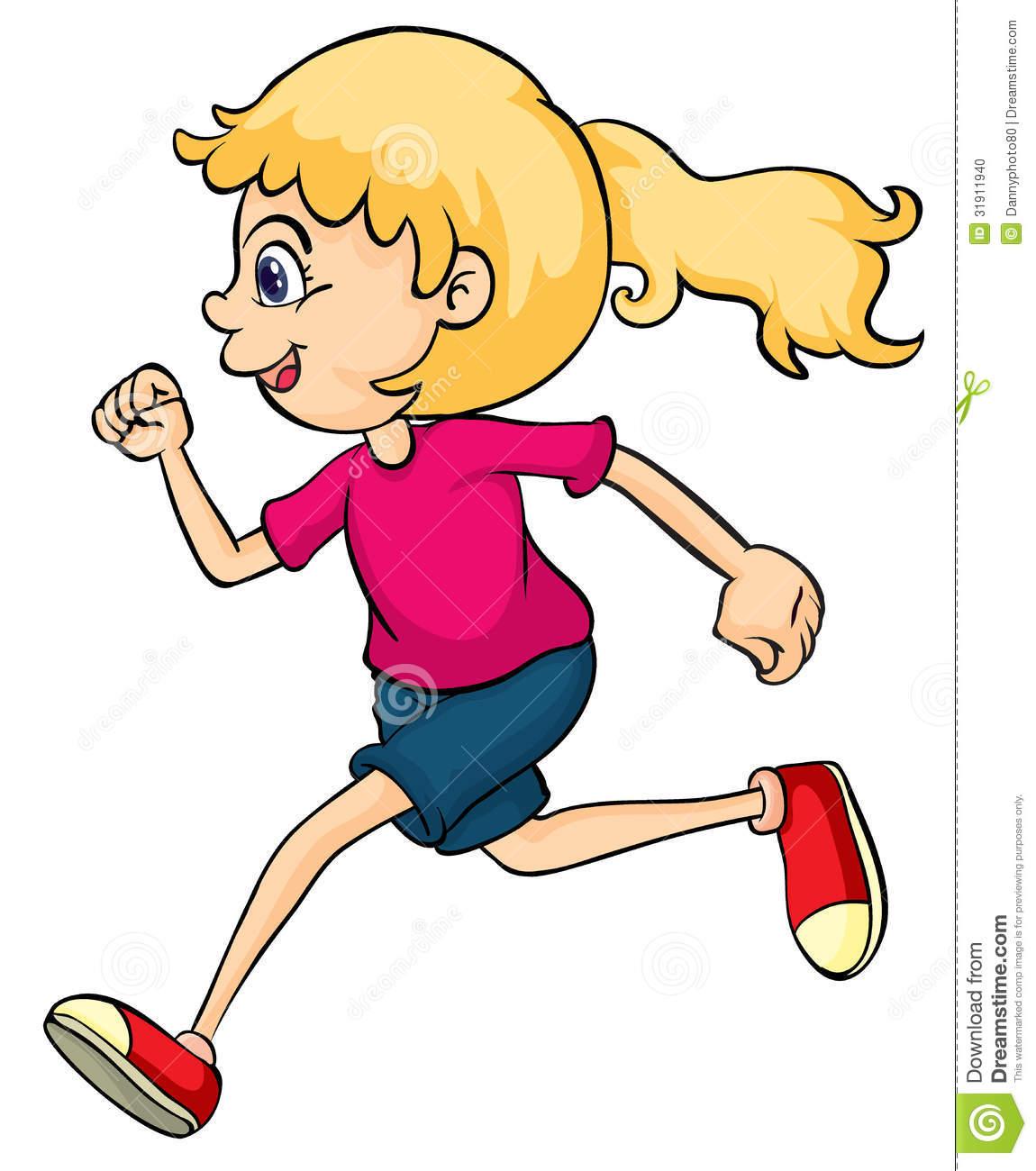 903 Girl Running free clipart.