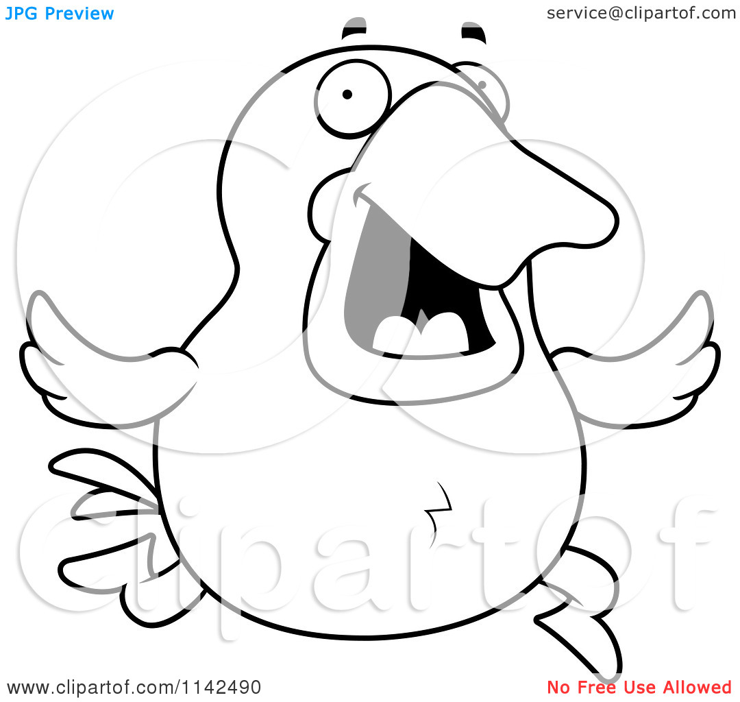 Cartoon Clipart Of A Black And White Running Duck.