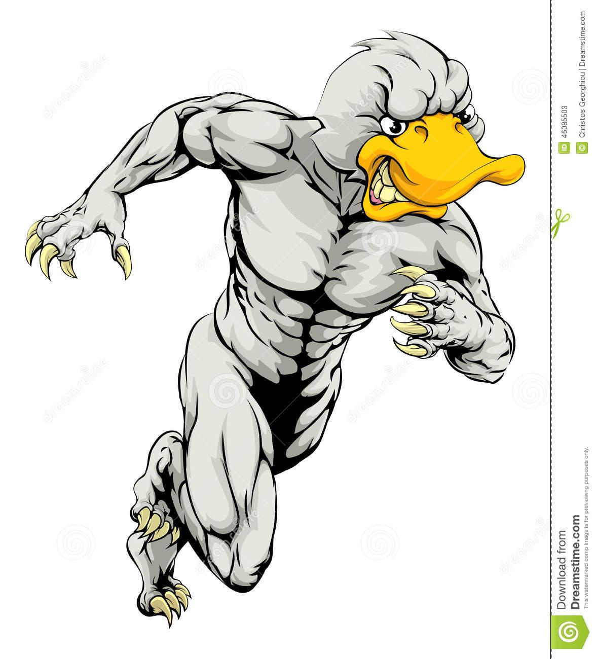 Duck Mascot Running Stock Vector.