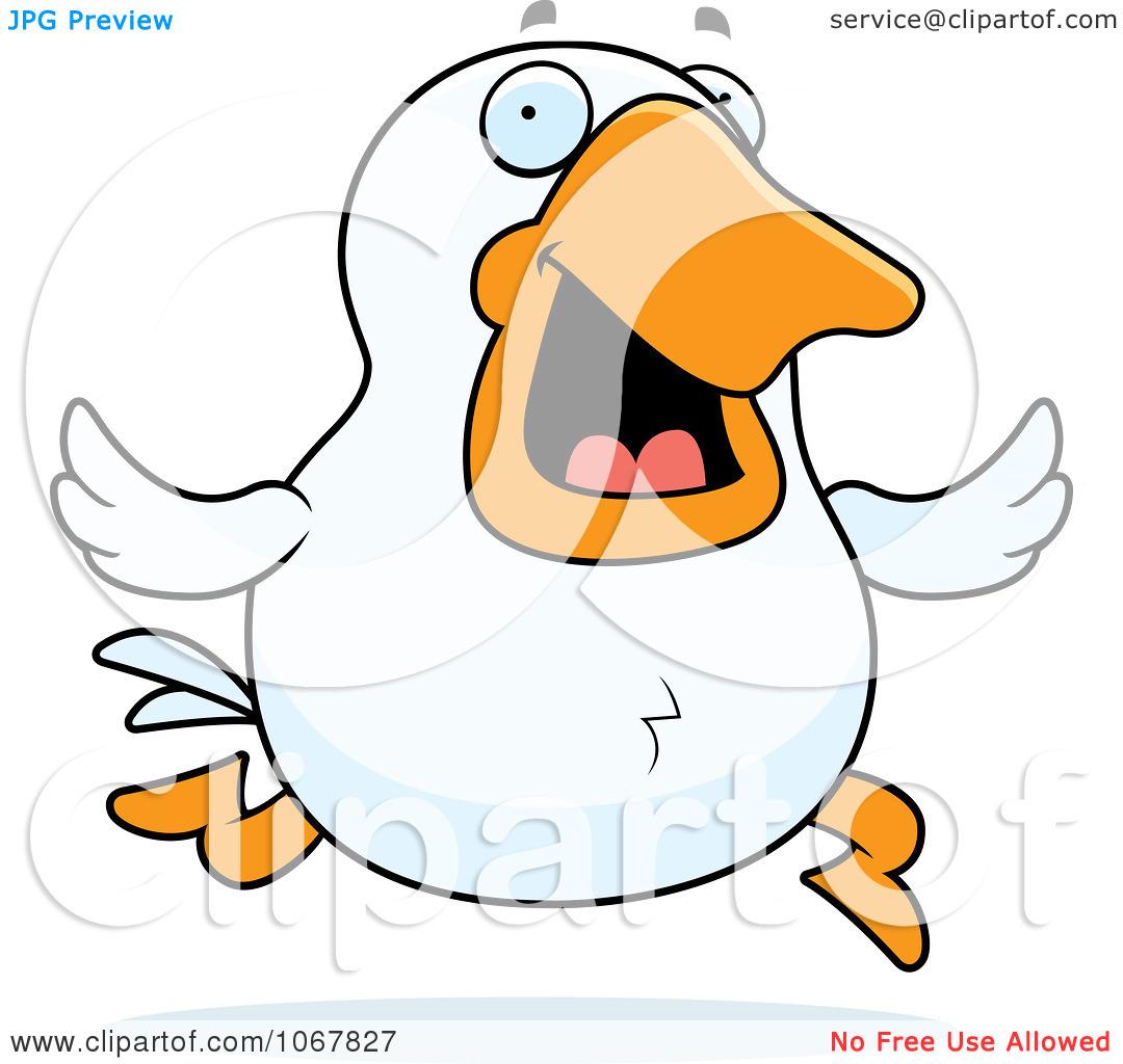 Clipart White Duck Running.