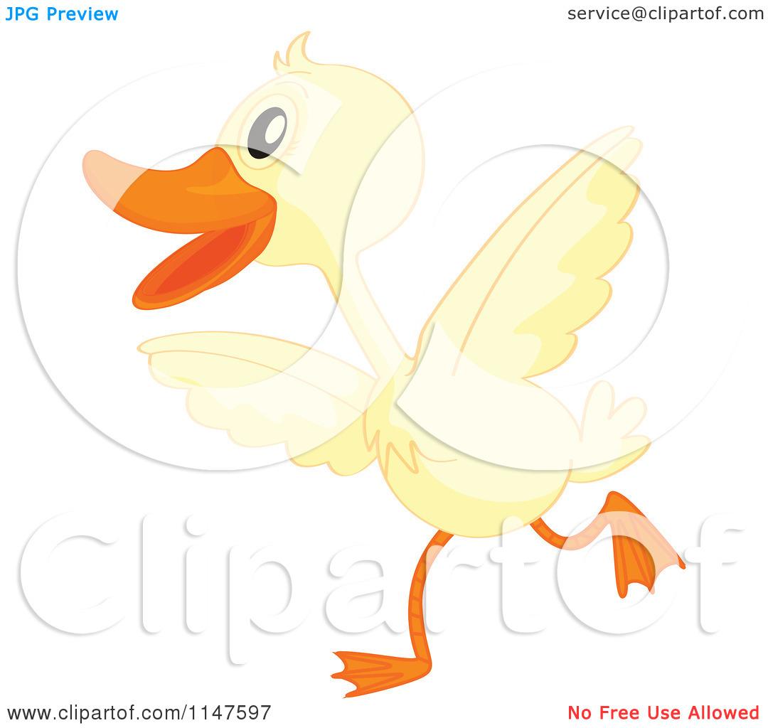 Cartoon of a Cute Duck Running.