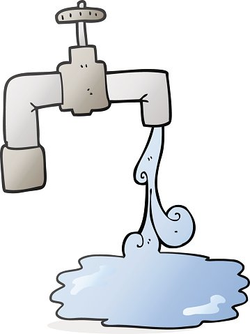 cartoon running faucet Clipart Image.
