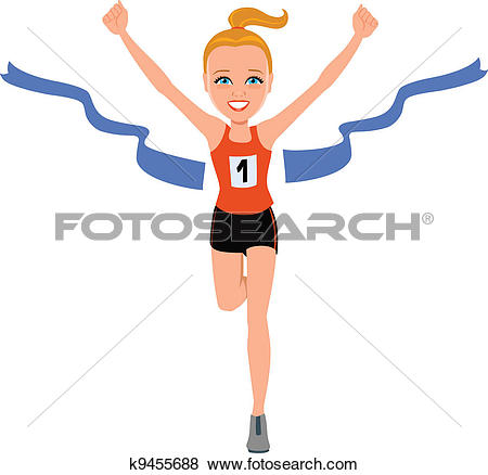 Clipart of Woman winning a race k5746400.