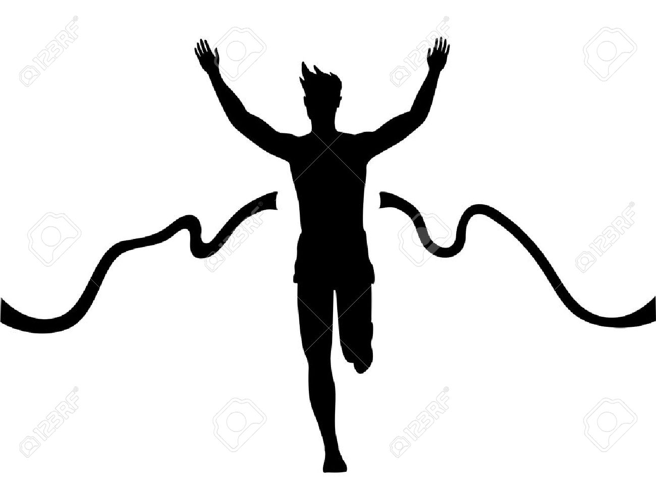 Silhouette Of A Man Running Thru The Finish Line Royalty Free.