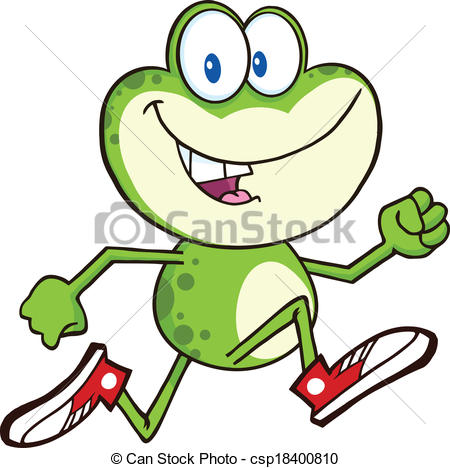 Vector Clip Art of Green Frog Running With Sneakers.