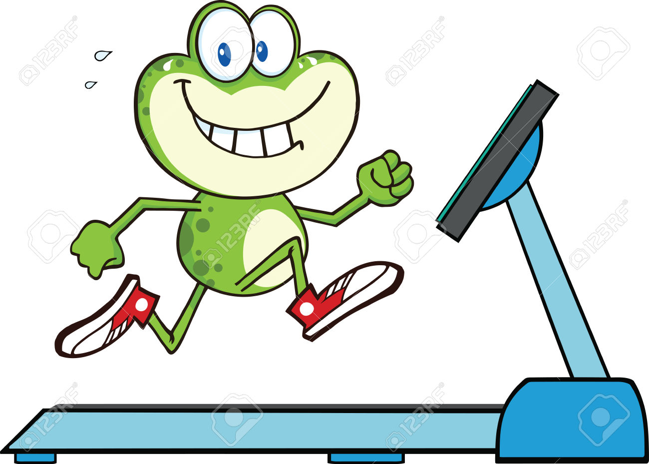 Healthy Green Frog Running On A Treadmill Illustration Isolated.