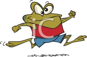 Frog Wearing Shorts and a Tank Toop Running Fast.