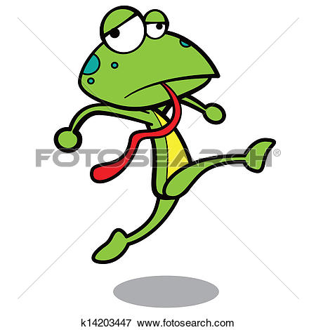 Clip Art of humor cartoon frog running with white background.