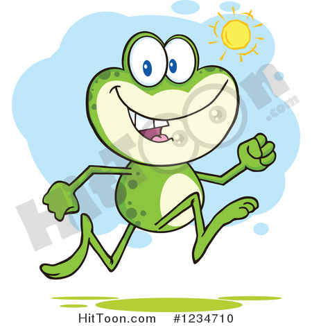 Frog Clipart #1234710: Frog Character Running on a Sunny Day by.
