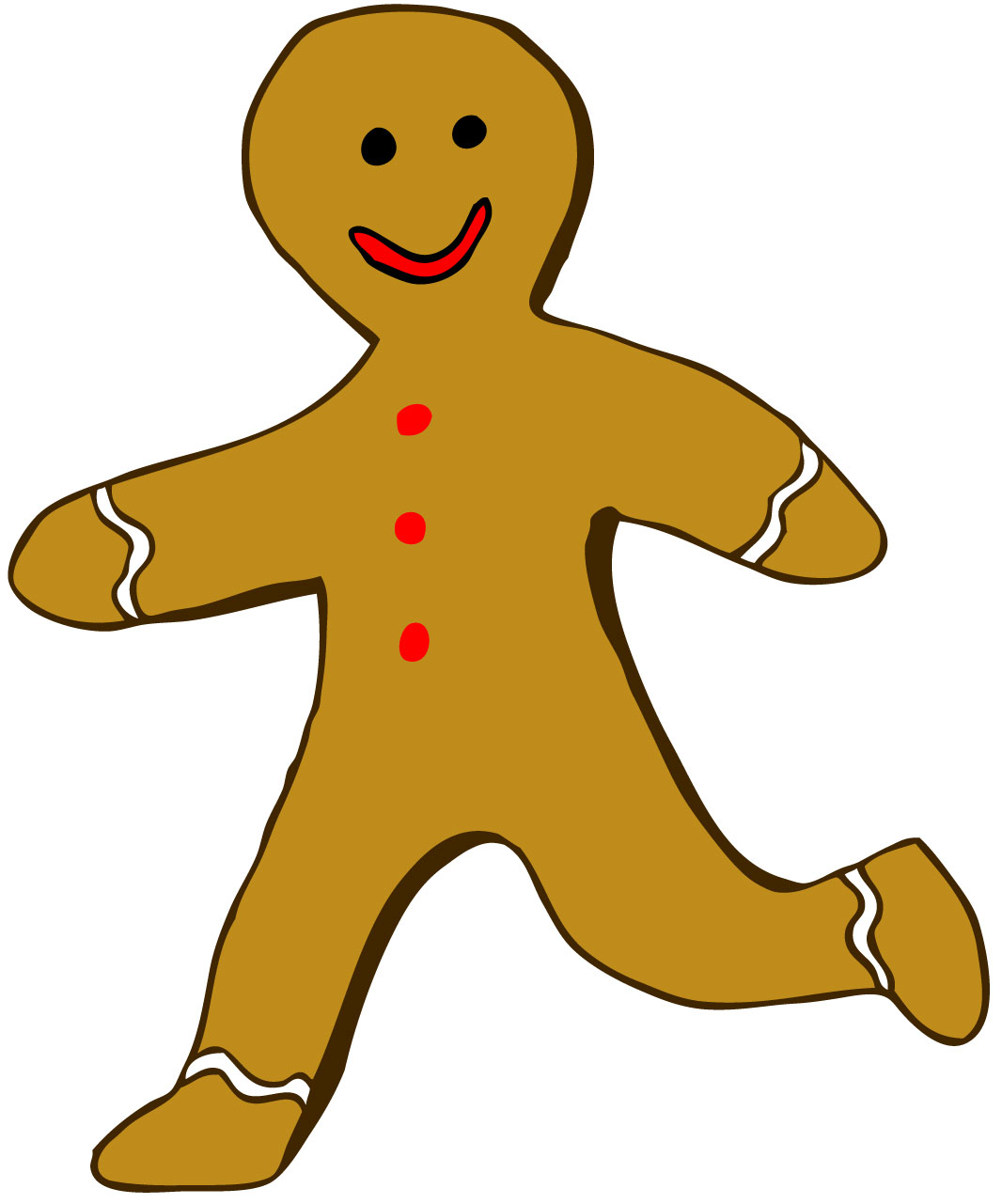 Gingerbread man running clipart.