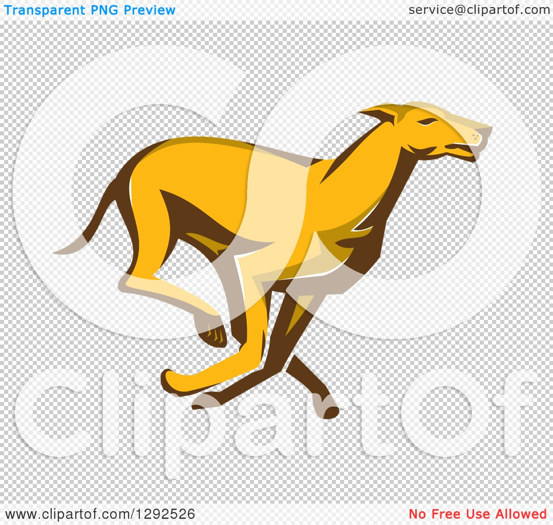 Clipart of a Retro Cartoon Greyhound Dog Running.