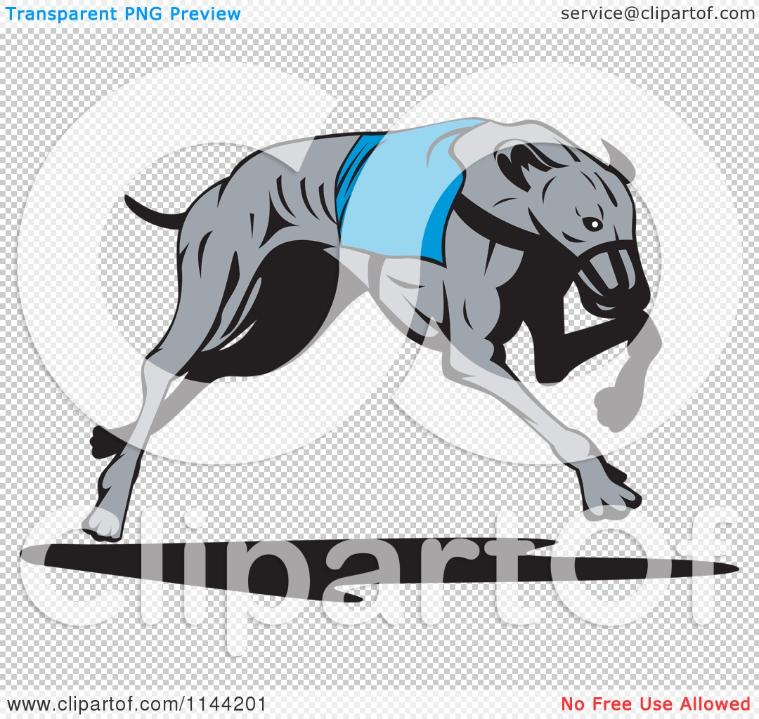 Clipart of a Retro Running Greyhound Dog 3.