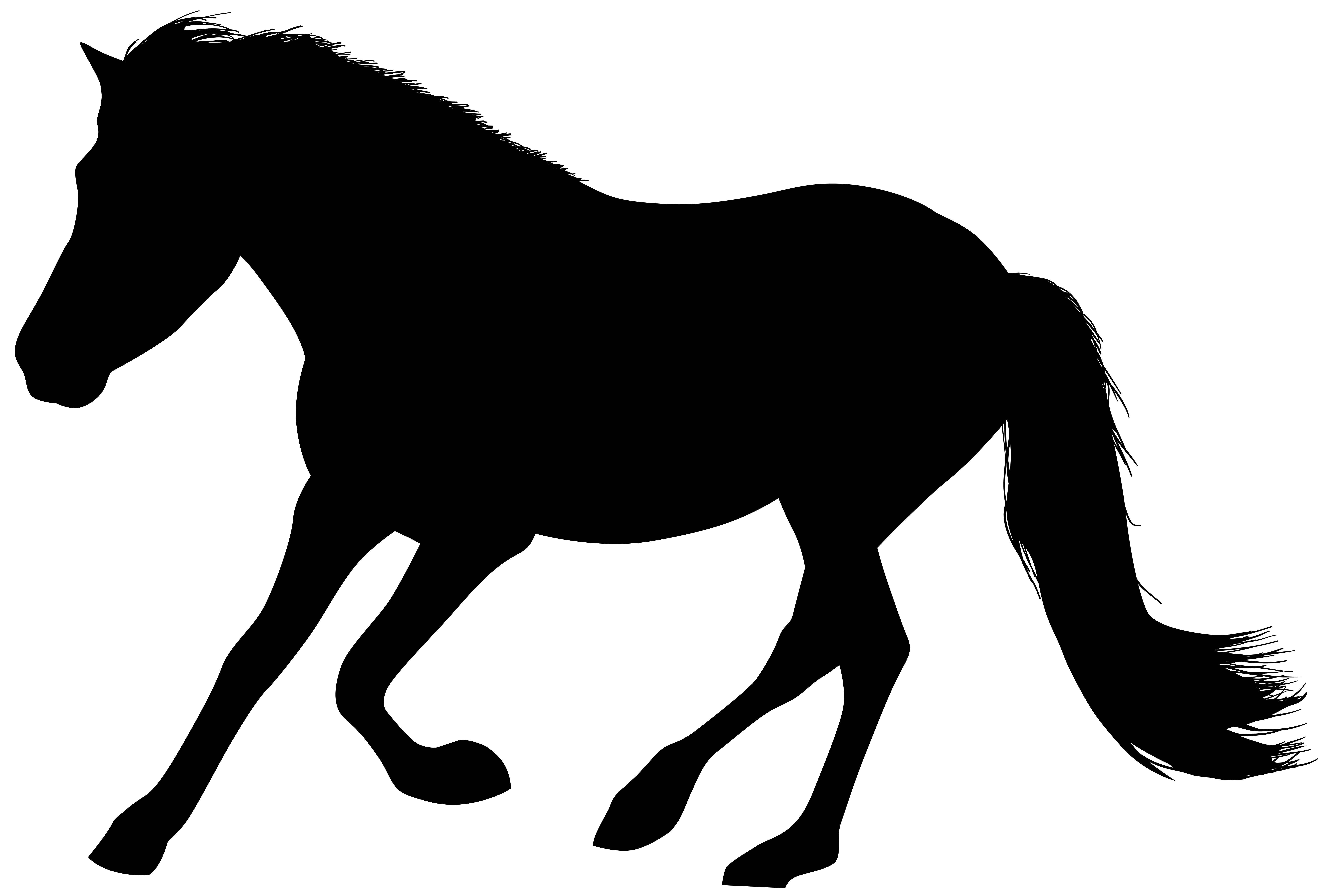 Running Horse Silhouette Clip Art Image.