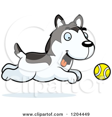 Cartoon of a Black and White Cute Husky Puppy Dog Running.