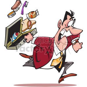 cartoon business man running late clipart. Royalty.