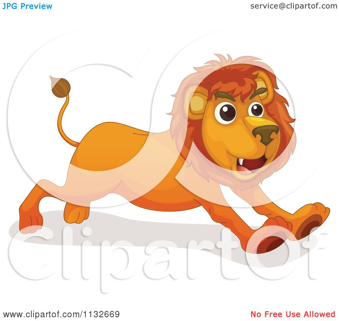 Cartoon Of A Lion Running.
