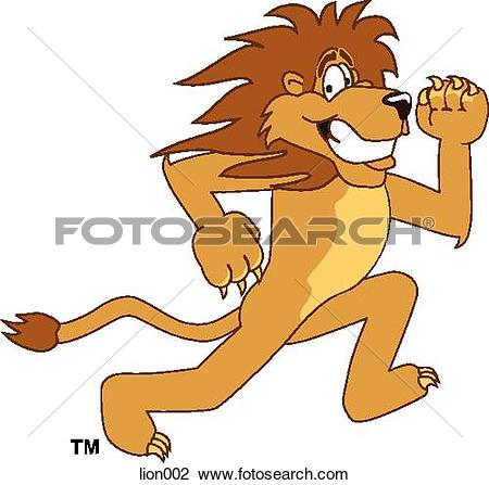 Clip Art of Lion Running lion002.