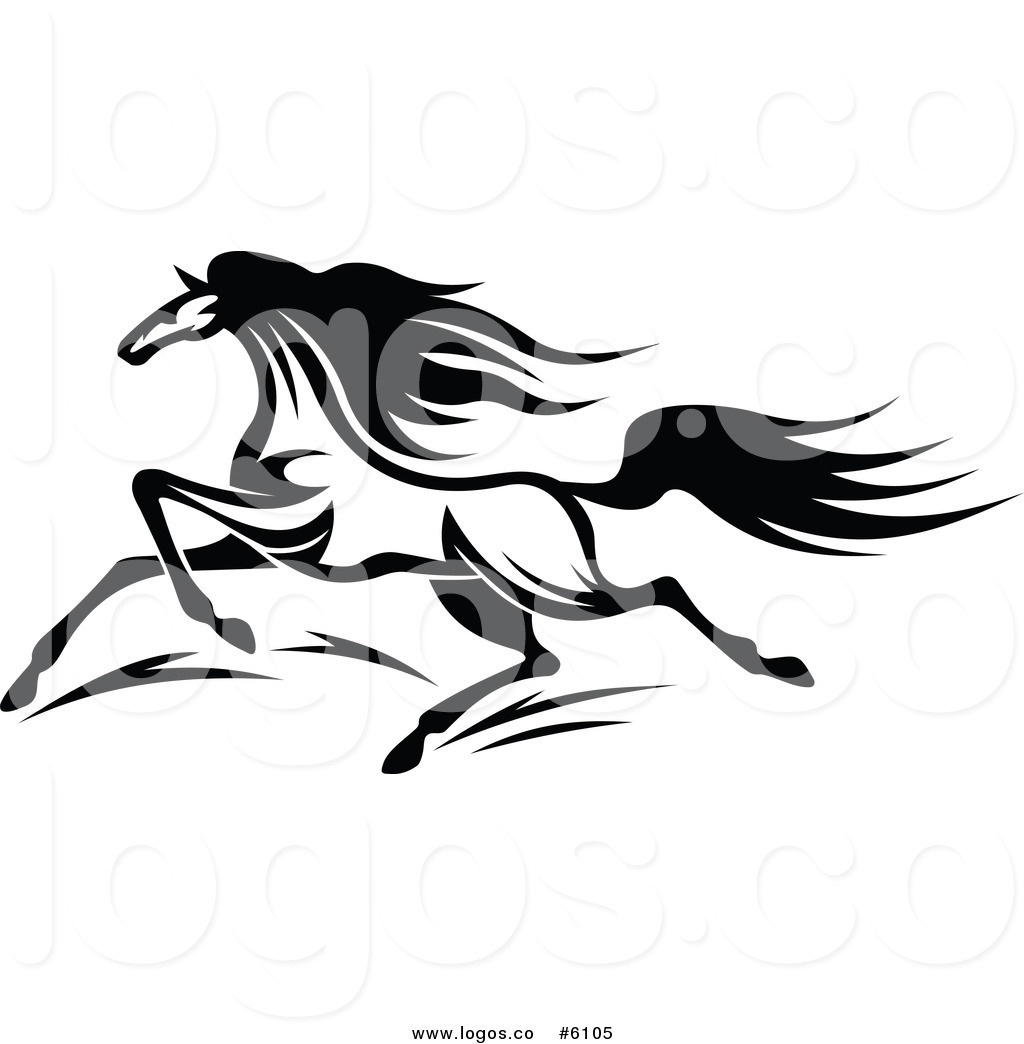 Royalty Free Clip Art Vector Logo of a Black and White Horse.