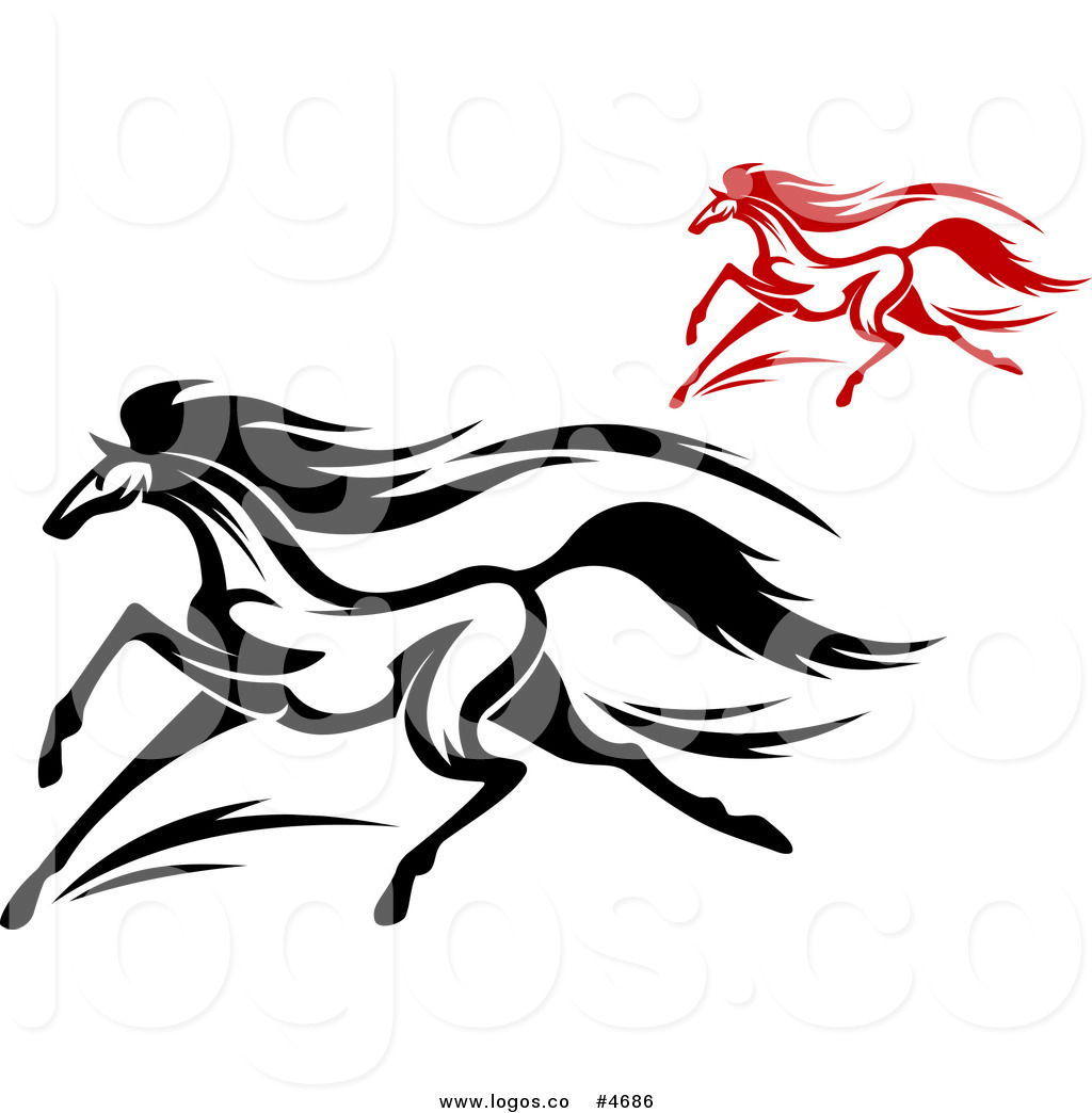 Royalty Free Clip Art Vector Logos of Black and Red Horses.