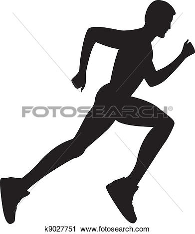 Clipart of Abstract silhouette of running man k25061413.