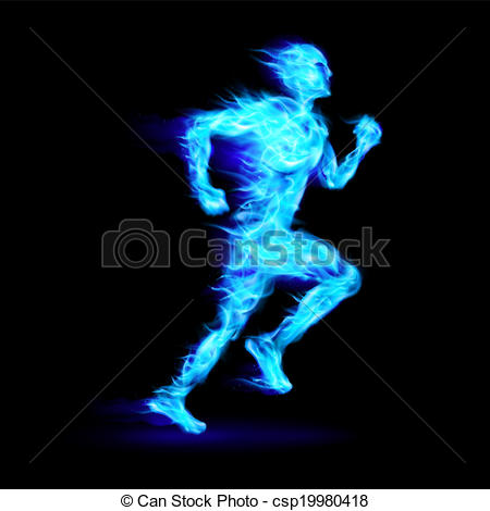 Vector Clip Art of Blue fiery running man with motion effect on.