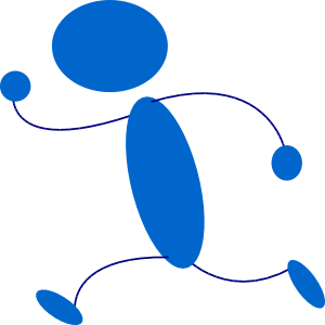Running Blue Stick Man Clip Art at Clker.com.