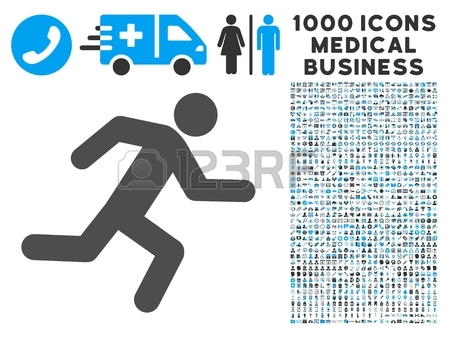 Running Man Icon With 1000 Medical Business Gray And Blue Vector.