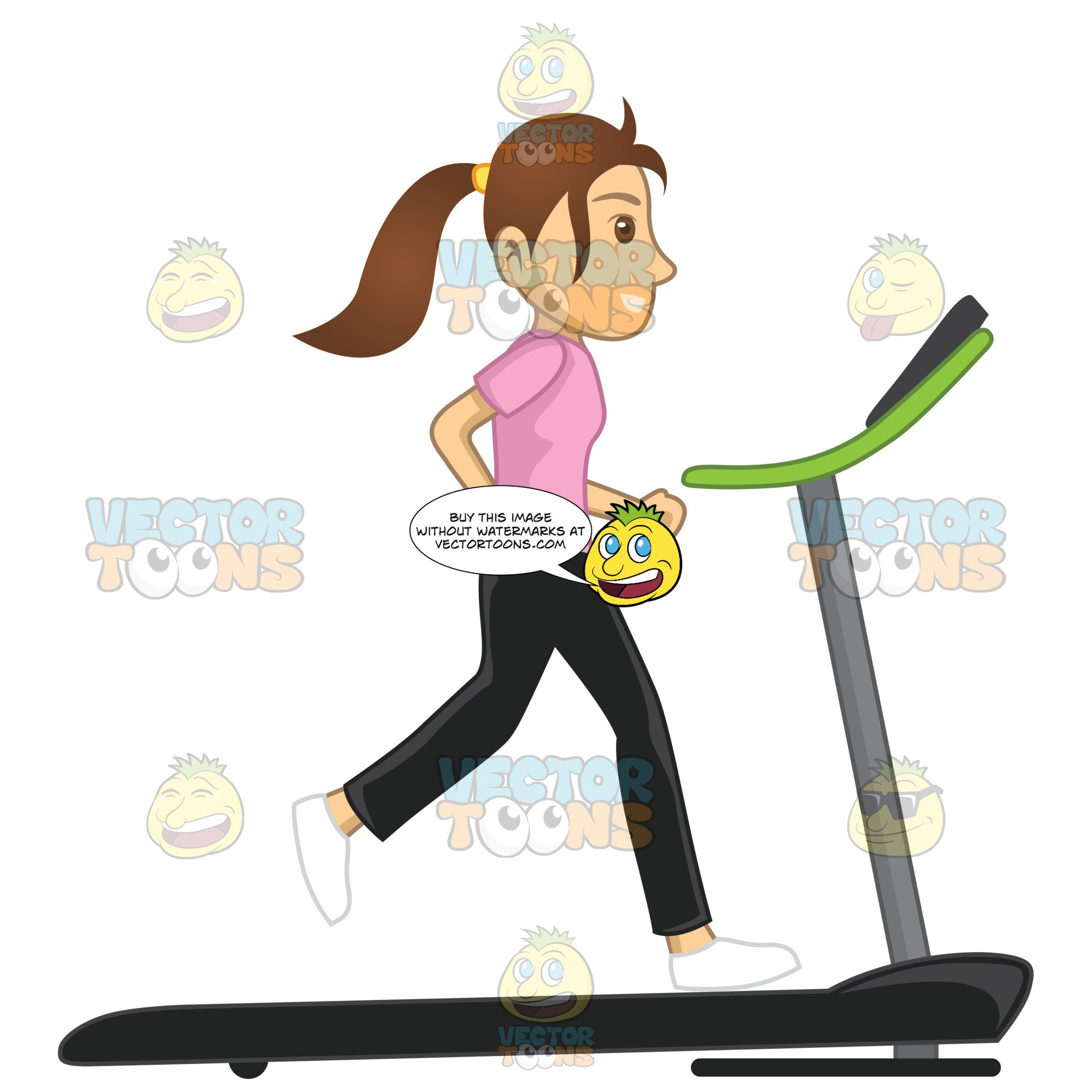 Woman Running On A Treadmill.