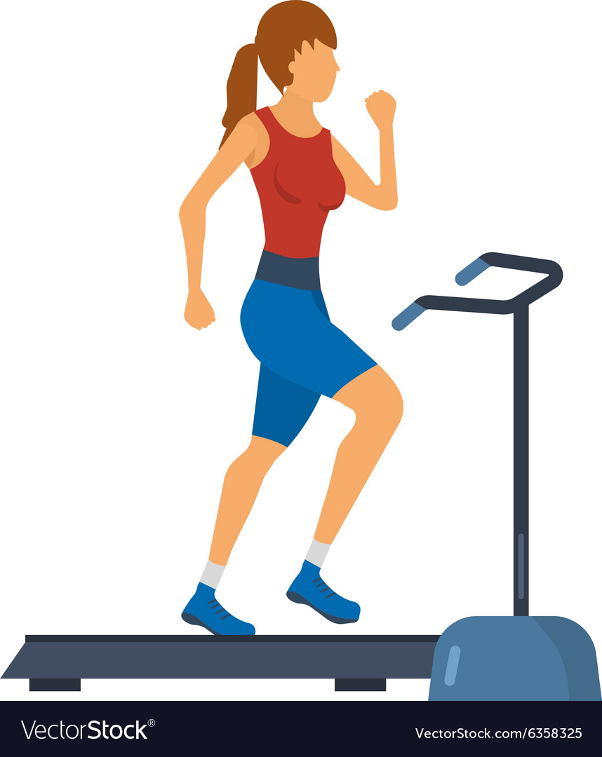 Young adult woman running on treadmill in fitness.