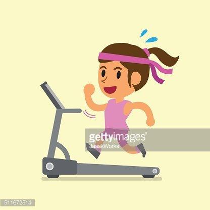Cartoon woman running on treadmill Clipart Image.