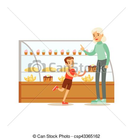 Clip Art Vector of Kid And His Grandma Choosing Pastry To Buy From.