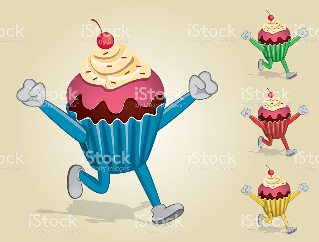 Running Cup Cake With Two Hands Up stock vector art 611077386.