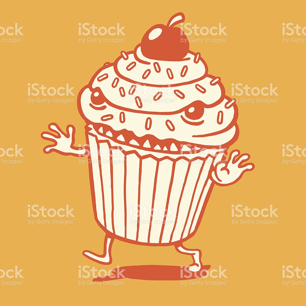 Scary Cupcake Running stock vector art 482365197.