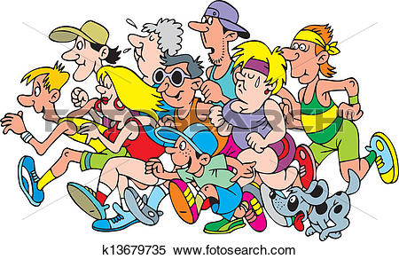 Clipart of running people k13679735.