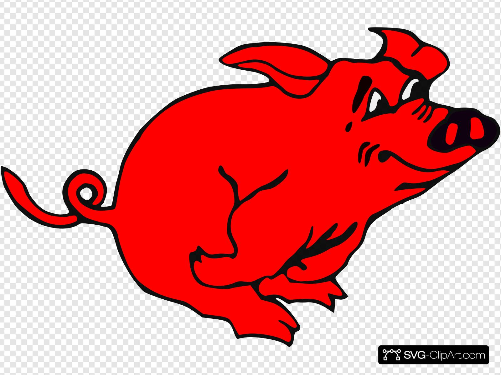 Red Running Pig Clip art, Icon and SVG.