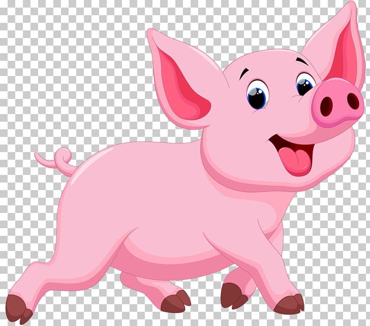 Porky Pig Domestic pig Drawing Illustration, Running pig.