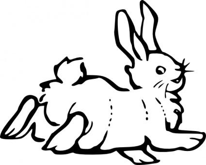 Running Rabbit Outline clip art Clipart Graphic.