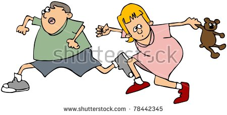 Kids Running Scared Stock Images, Royalty.
