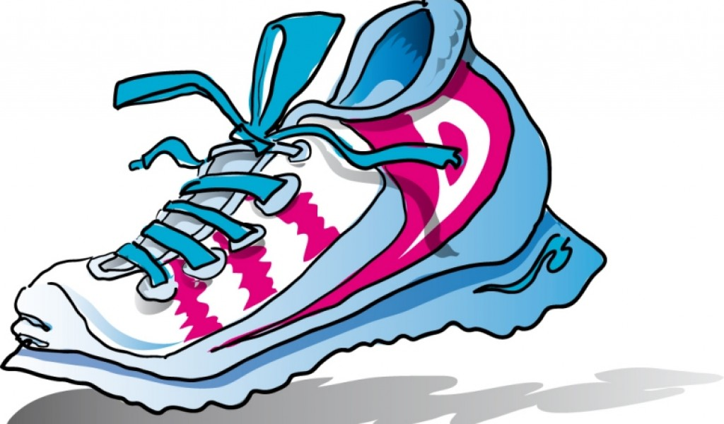 Dog clipart with running shoes.