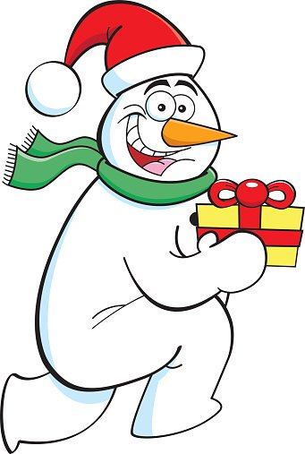 Cartoon running snowman with a gift Clipart Image.