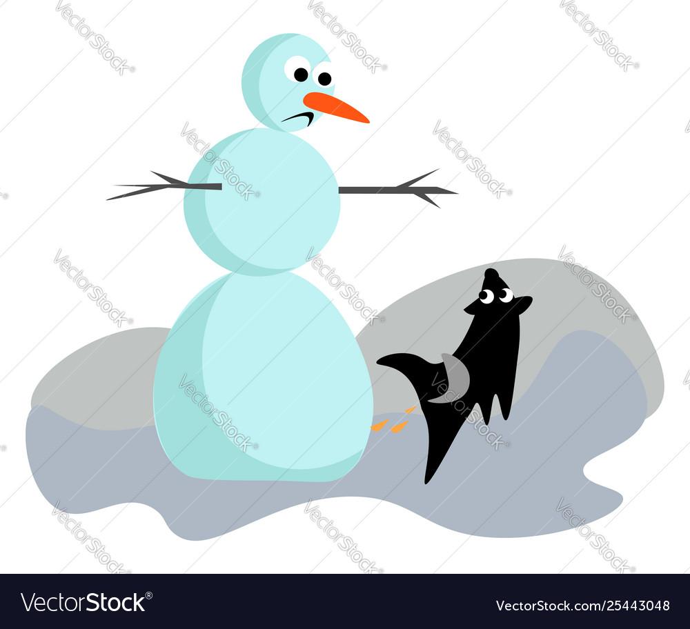 Clipart a sad snowman and a black dog running.