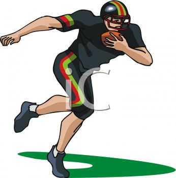 Picture of a Football Player Running With a Football In a Vector.