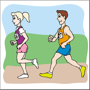 Clip Art: Kids: Running a Race Color I abcteach.com.