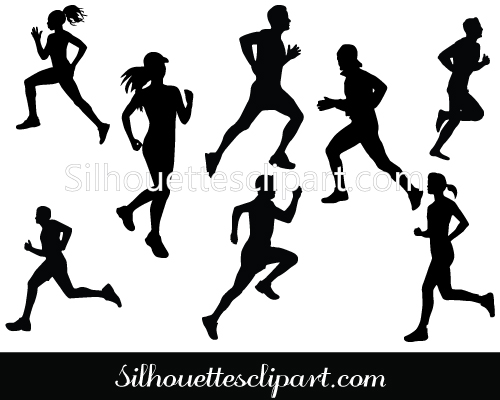 Marathon Running Silhouette vector for running race and athletic.
