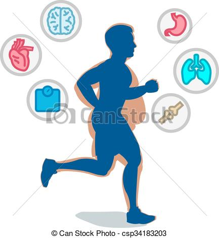 Vector Clipart of Jogging man, running infographic elements, loss.